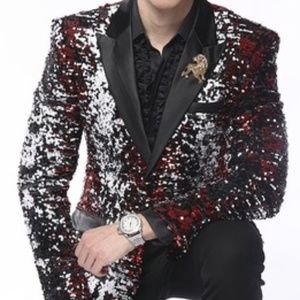 Black Red White Silver Sequin Blazer